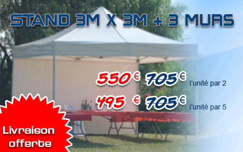 Stand 3m x 3m + 3 murs